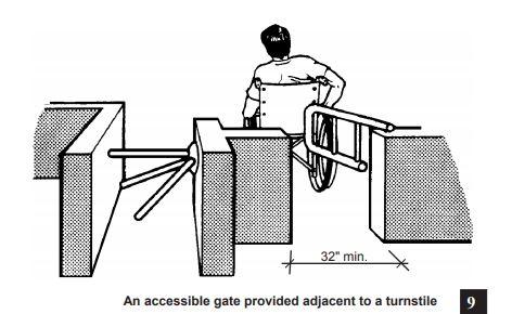 man in whelchair rolling through ada compliant swing gate next to waist high turnstile